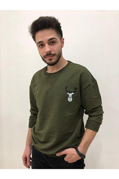 Yeşil Oversize Geyık Desenli Unısex Sweatshirt