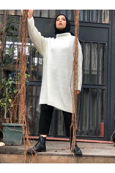 Kadın Ekru Oversize Triko Kazak