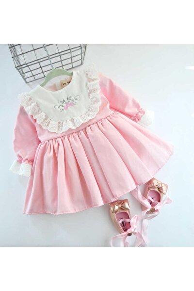 Kız Çocuk Gülkuru Çiçek Işlemeli  Elbise