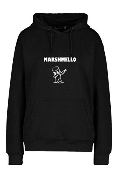 Unisex Siyah Marshmello Baskılı Kapüşonlu Sweatshirt