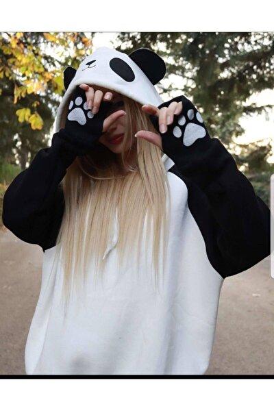 Kadın Beyaz Siyah Panda Sweat