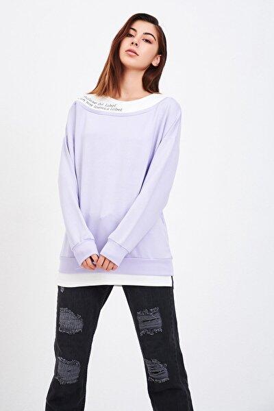 Kadın Lila Nakışlı Sweatshirt