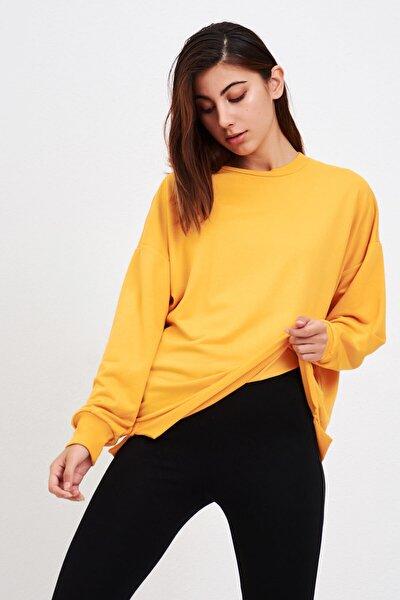 Kadın Hardal Basic Salaş Sweatshirt