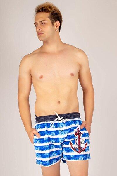 Erkek Mavi Çapa Desenli Deniz Şortu