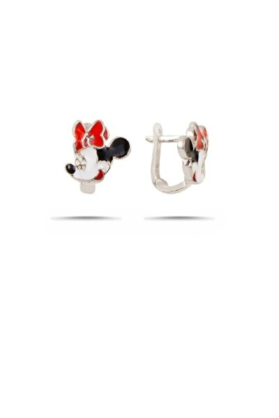 Kız Çocuk Beyaz Mickey Mouse Gümüş Küpe