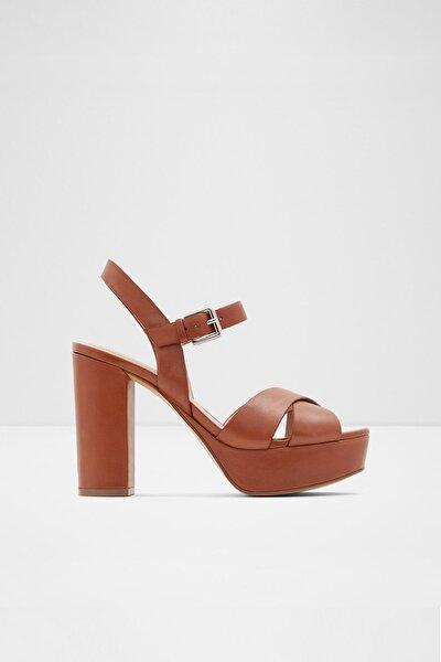 Kadın Kahve Hakiki Deri  Yüksek Topuklu Sandalet