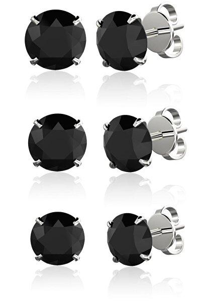 Silver Unisex Tek Taş Siyah Yuvarlak Kesim 3'lü Set 4mm 5mm 6mm Beckham Ithal Rodyum Gümüş Küpe