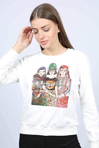 Kadın Ekru Baskılı Kadın Sweatshirt