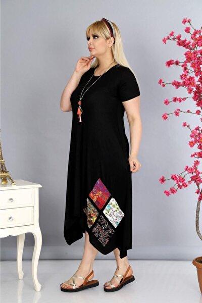 Kadın Siyah Eteği Yama Detaylı Asimetrik Esnek Viskon Elbise