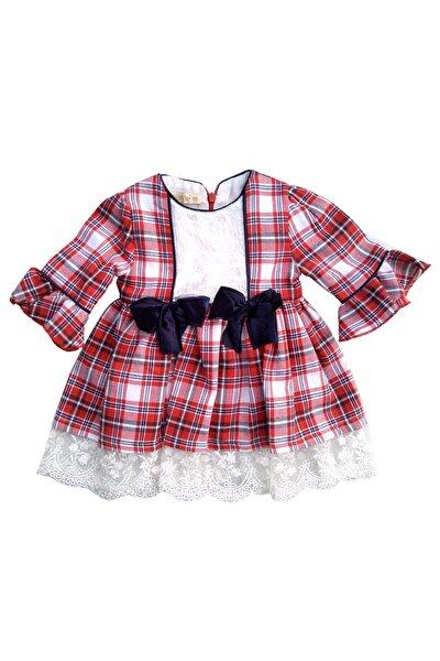 Kız Çocuk Kırmızı Kareli Vintage Elbise