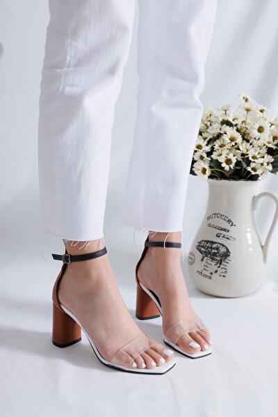 Lindsay Taba Beyaz Şeffaf Bantlı Oval Topuklu Ayarlanabilir Kemerli Sandalet