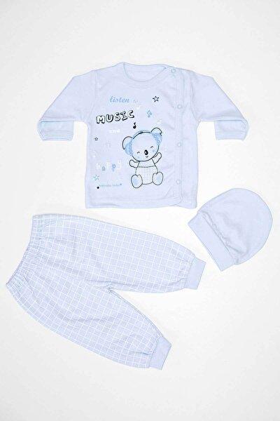 Erkek Bebek Mavi Renkli Şapkalı Zıbın Takım 3'lü