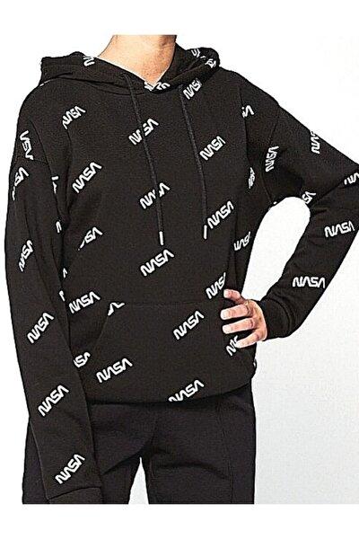 Kadın Siyah Nasa Kapüşonlu Sweatshirt