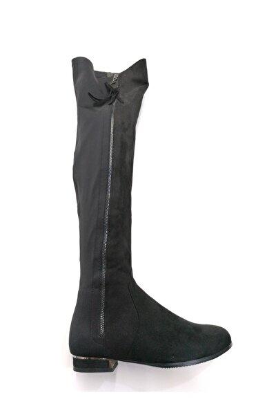 Siyah Fermuarlı Kadın Çizme
