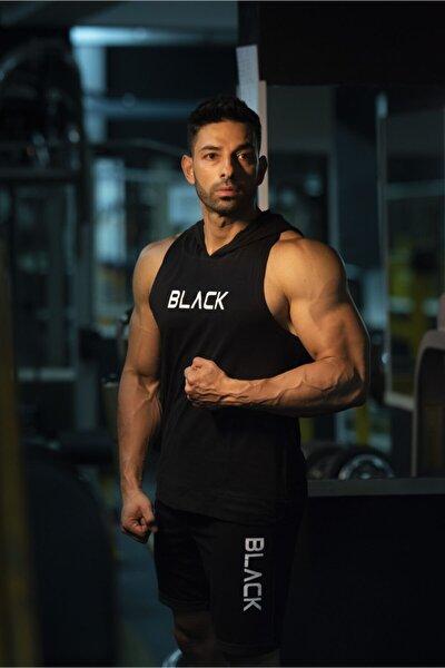 Black - Kapşonlu Fitness Atleti