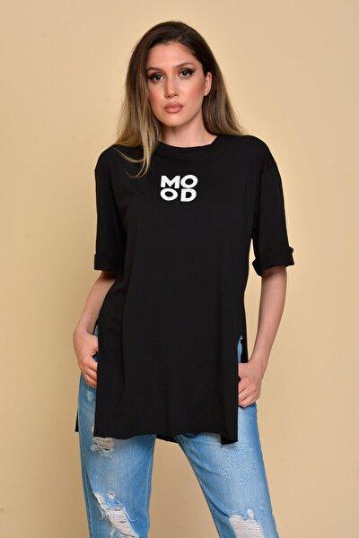 Kadın Siyah Yırtmaçlı Mood Baskılı T-shirt