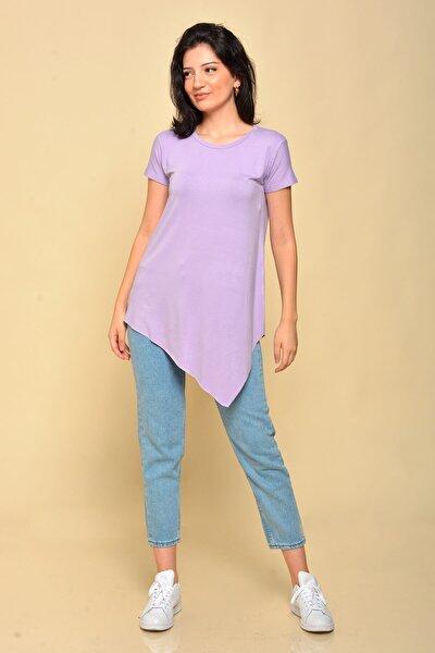 Kadın Lila Asimetrik Kesim Basic T-shirt