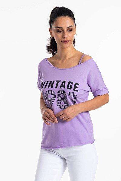 Kadın Mor Düşük Omuz Vintage T-shirt