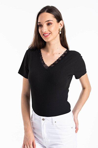 Kadın Siyah Ön Arka V Yaka Kaşkorse T-shirt