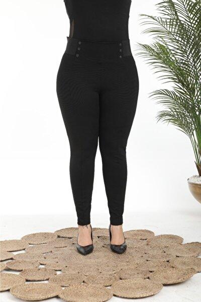 Kadın Siyah Yüksek Bel Beli Kalın Lastikli Pantolon Tayt