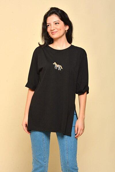 Yırtmaçlı Salaş Siyah T-shirt