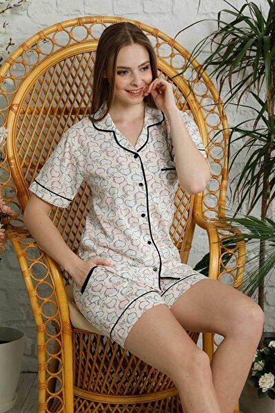 Kadın Ekru Düğmeli Şortlu Pijama Takımı