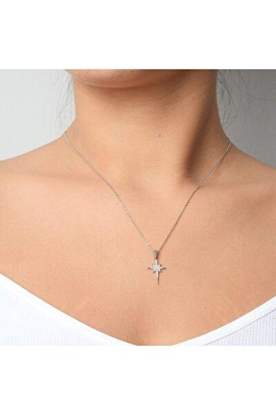 Kadın Gümüş Minik Kutup Yıldızı Kolye 925 Ayar