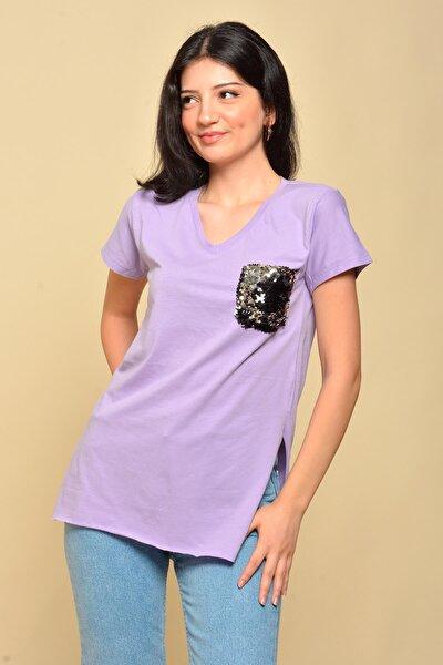 Kadın Mor Pul Cepli V Yaka T-shirt