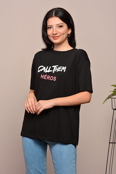 Kadın Siyah Baskılı Salaş T-shirt