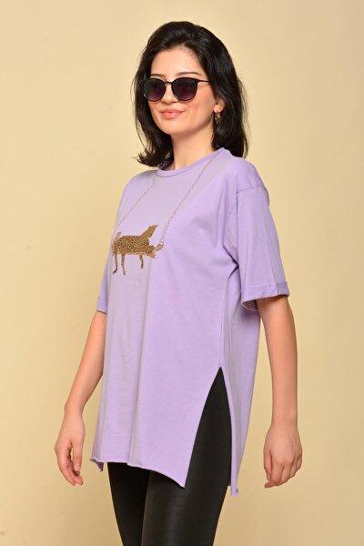 Kadın Mor Yırtmaçlı Salaş T-shirt