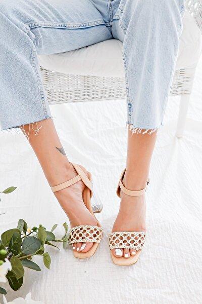 Kadın Ten Örgü Bantlı Şeffaf Topuklu Kemerli Sandalet