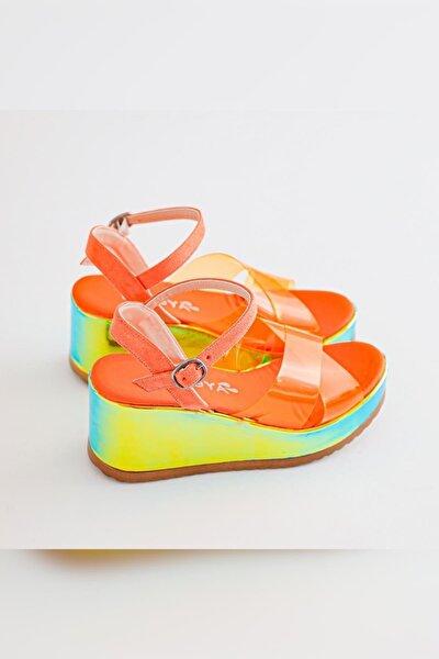 Kadın Portakal Neon Şeffaf Bantlı Dolgu Tabanlı Kemerli Sandalet