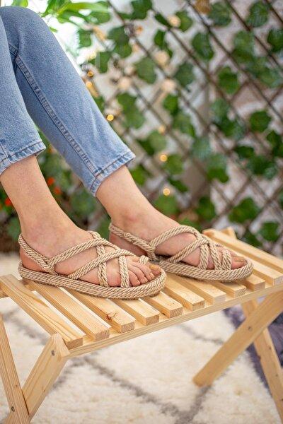 Kadın Ten Çapraz Halat Sandalet