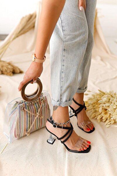 Kadın Siyah Şeffaf Bantlı Şampanya Topuklu Sandalet