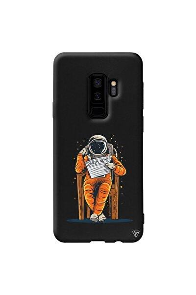 Samsung S9 Plus Siyah Renkli Silikon Earth News Telefon Kılıfı