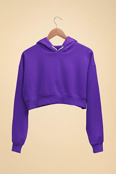 Kadın Basic Mor Croptop Hoodie Sweatshirt