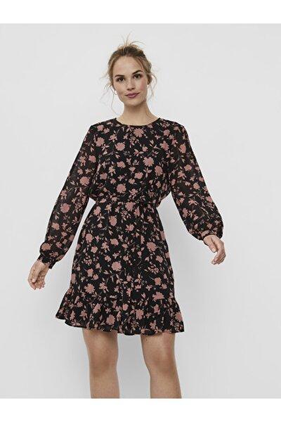 Kadın Siyah Beli Kuşaklı Çiçekli Elbise 10239480 VMICY