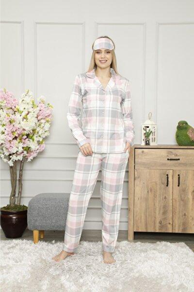 Pijamoni Pembe Ekoseli Önden Düğmeli Pijama Takımı