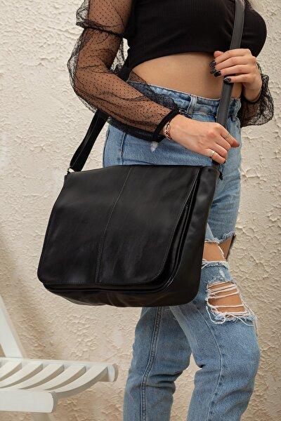 Klasik Kapaklı Kadın Omuz Çantası Günlük Kullanışlı Postacı Suni Deri Çanta