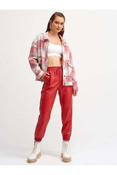 Kadın Kırmızı Lastikli Deri Jogger Pantolon 7747
