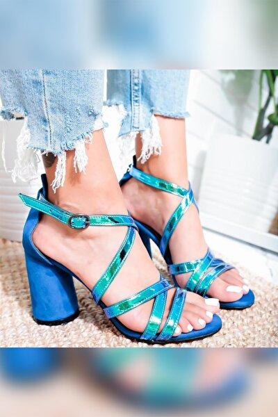 Kadın  Sax Mavi Hologram Oval Ökçeli Topuklu Sandalet
