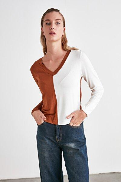 Tarçın Renk Bloklu Örme Bluz TWOAW21BZ1376