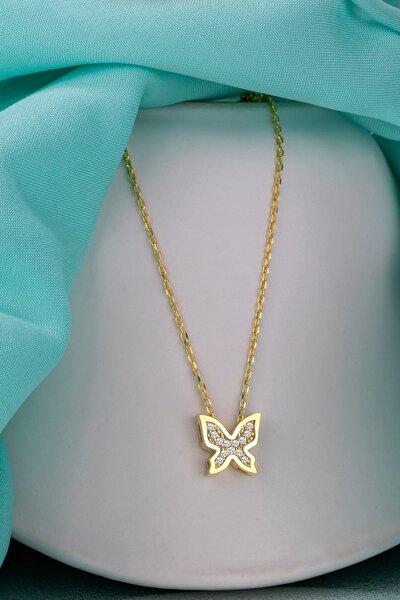 Gümüş Kolye Orijinal Swarovskı Taşlı Kelebek Temalı Altın Kaplama Bayan Kolye