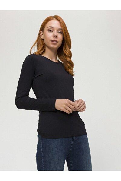 Kadın Siyah Yuvarlak Yaka Uzun Kollu Modal Basic Tişört