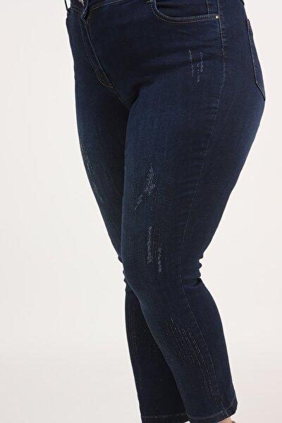 E Collection Paçası Yağmur Taşlı Pantolon