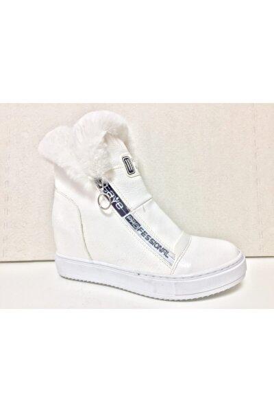 Kadın Beyaz Kürklü Yağmur Kar Botu