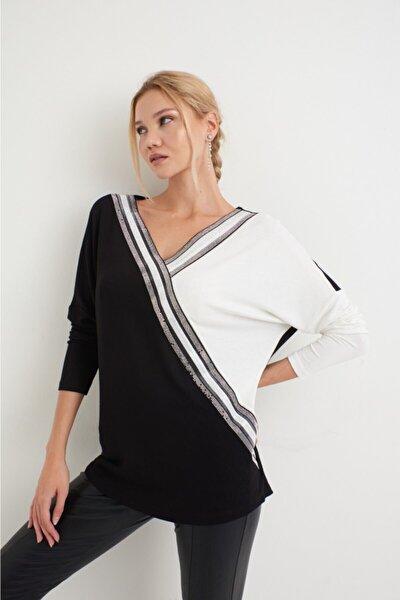 Kadın Siyah  Taş Desenli Bluz
