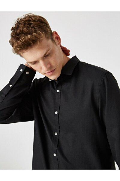 Erkek Siyah Uzun Kollu Basic Gömlek