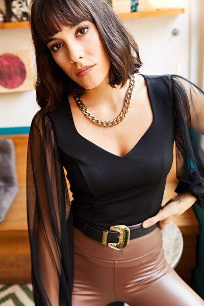 Kadın Siyah Kolu Tül V Yaka Örme Bluz BLZ-19001192
