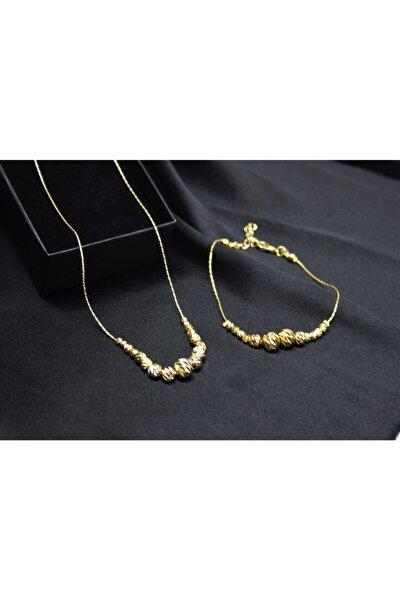 Kadın Gold Dorika Kolye Bileklik Set Altın Kaplama